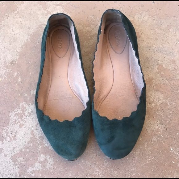 Chloe Green Suede Scalloped Flats